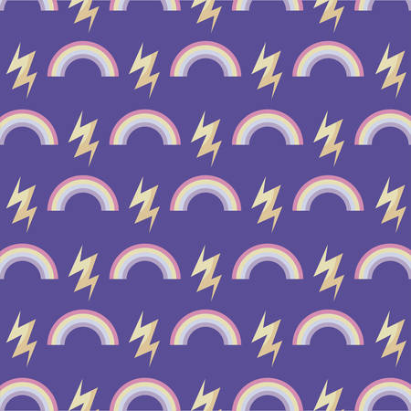 pattern of rainbow with thunderbolts vector illustration design