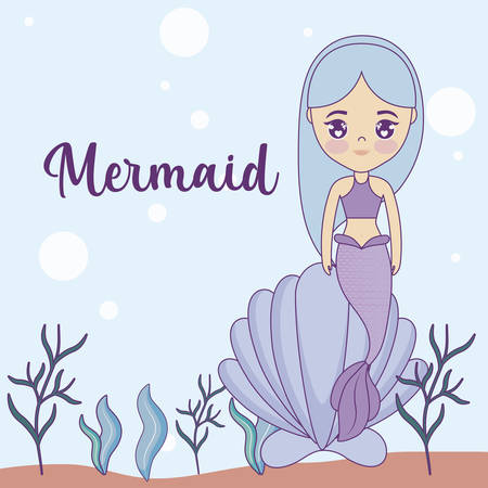 cute mermaid with seashell in the sea vector illustration design
