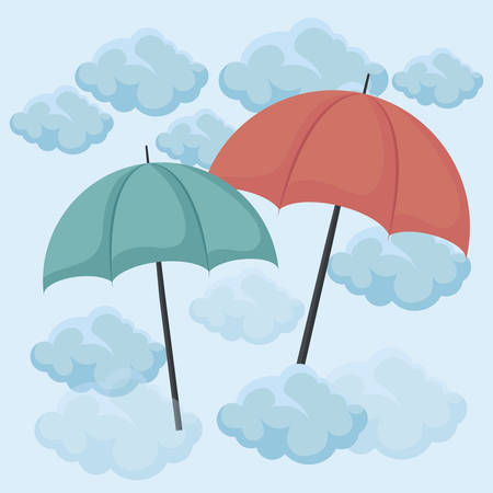 set of umbrellas in the sky vector illustration design Vectores