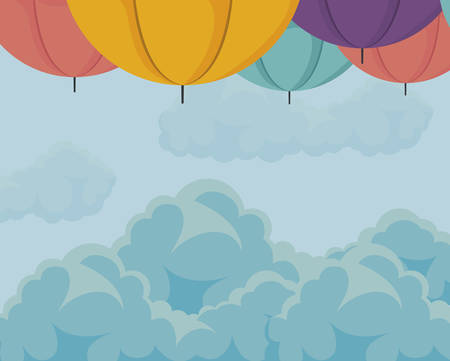 frame of umbrellas in the sky vector illustration design