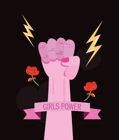 raised hand freedom girls power vector illustration