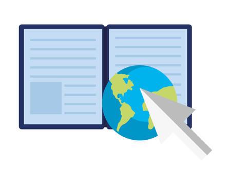 mondo ebook freccia educazione online scuola illustrazione vettoriale
