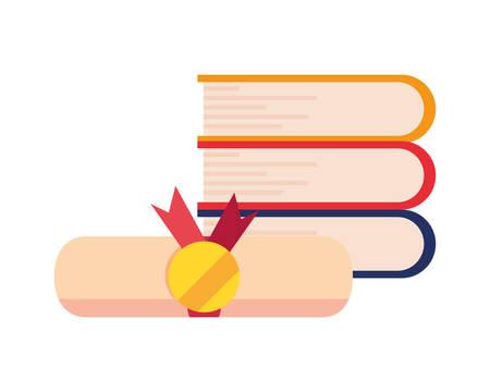 books certificate online education school vector illustration Archivio Fotografico - 125048399