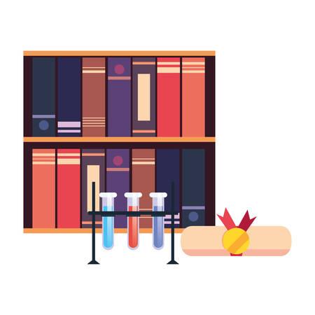 bookshelf certificate and science tubes online education school vector illustration