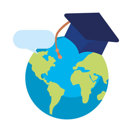 world graduation hat online education school vector illustration Archivio Fotografico - 125048413