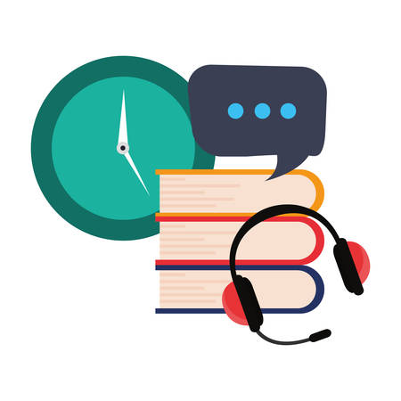 books headphones clock online education school vector illustration Archivio Fotografico - 125048417