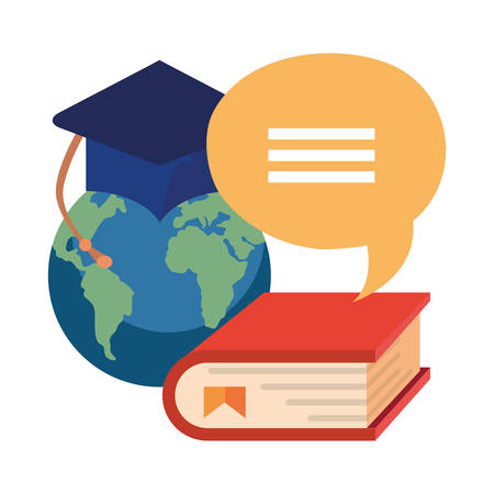 world book graduation hat online education school vector illustration Archivio Fotografico - 125048423