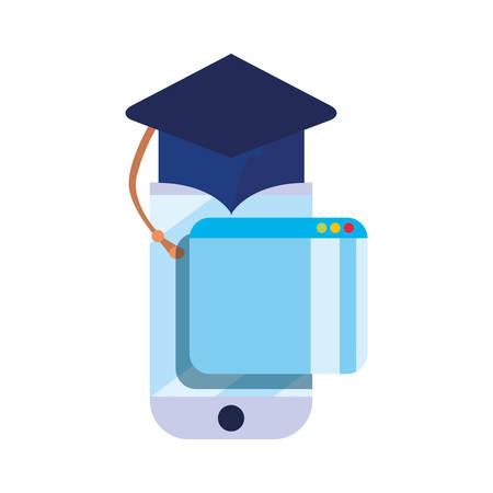 graduation hat mobile online education school vector illustration Archivio Fotografico - 125048426