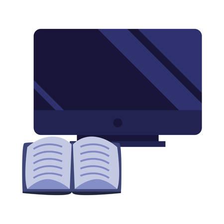computer book online education school vector illustration Archivio Fotografico - 125048428