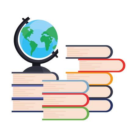 books pile and world online education school vector illustration Archivio Fotografico - 125048429