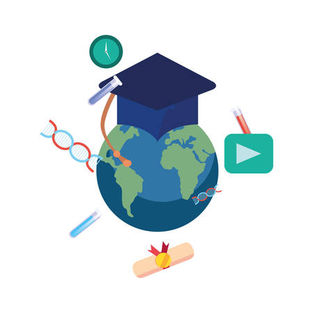 world graduation hat online education school vector illustration Archivio Fotografico - 125048430