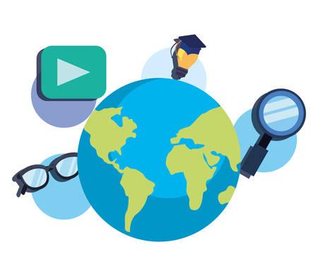 world idea science web online education school vector illustration Archivio Fotografico - 125048434