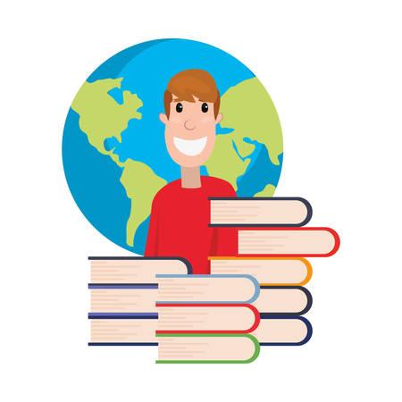 student world books pile online education school vector illustration Archivio Fotografico - 125048435