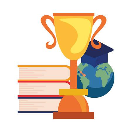 books pile trophy and world hat online education school vector illustration Archivio Fotografico - 125048437