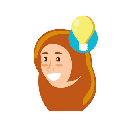 head young woman with light bulb vector illustration design