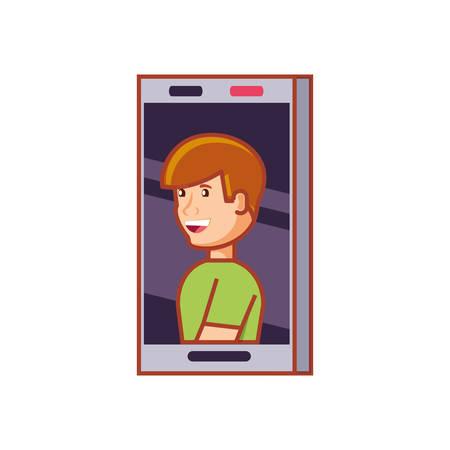 smartphone device with man in screen vector illustration design Illusztráció