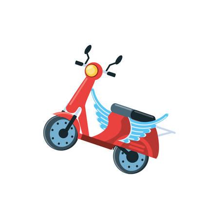 Entrega motocicleta scooter con alas, diseño de ilustraciones vectoriales