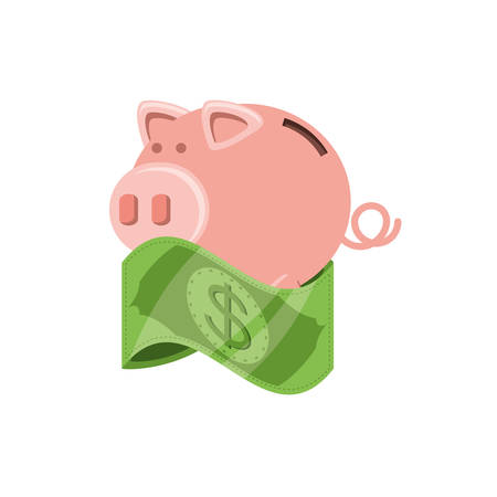 saving piggy with bill dollar isolated icon vector illustration design Ilustração