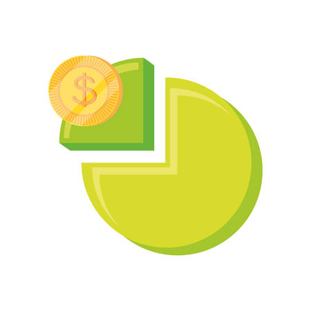 statistic graph of pie with money coin vector illustration design