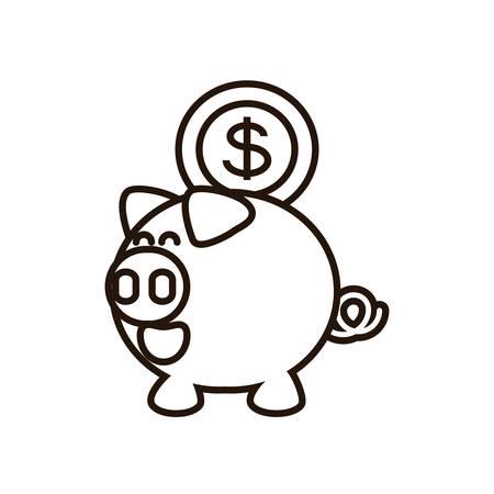 saving piggy with money coin vector illustration design