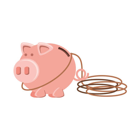 saving piggy with rope isolated icon vector illustration design Ilustração