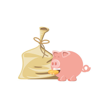 saving piggy with bag money isolated icon vector illustration design