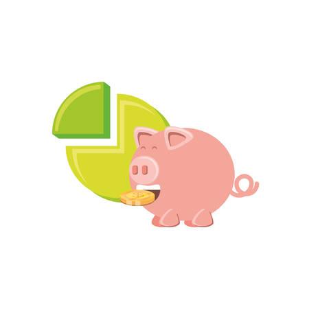 saving piggy with money and statistic graphic vector illustration design Ilustração