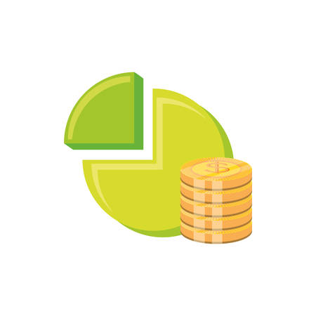 statistic graph of pie with coins pile vector illustration design