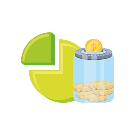 statistic graph of pie with saving coins vector illustration design