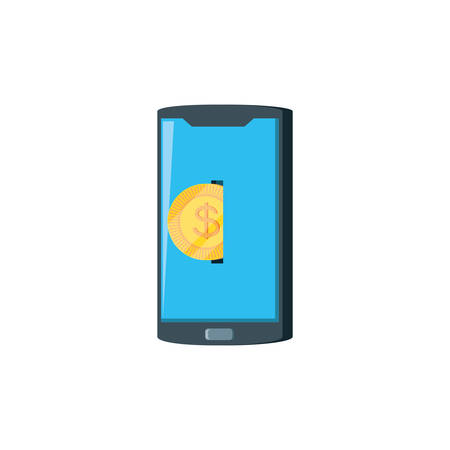 smartphone device with coin money vector illustration design