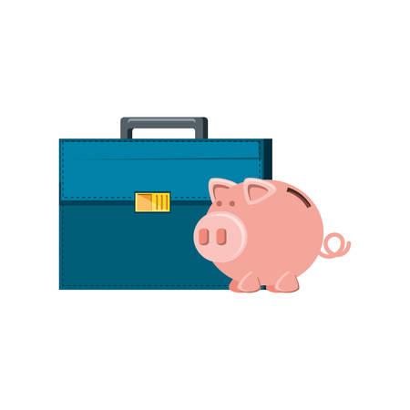 saving piggy with portfolio isolated icon vector illustration design Ilustração