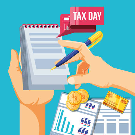 tax day with document paper and set icons vector illustration design Illustration