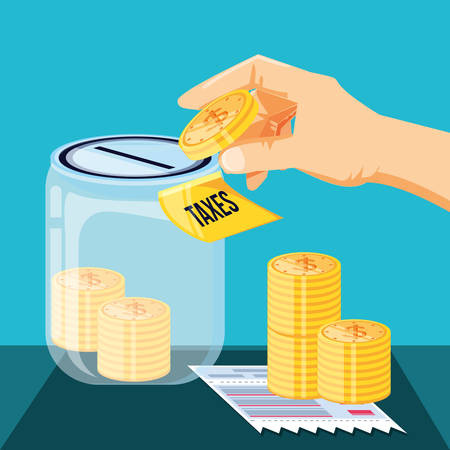 tax day with saving jar and set icons vector illustration design