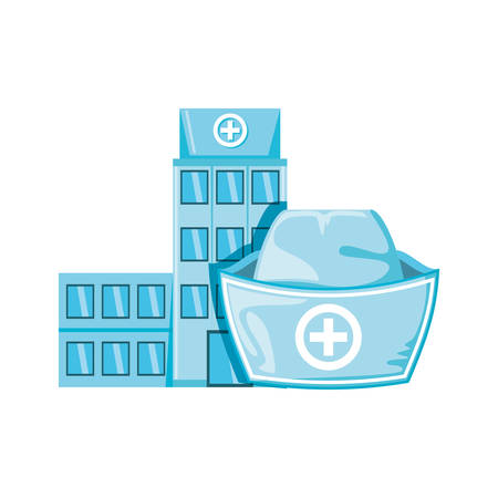 hospital structure with nurse hat isolated icon vector illustration design Illustration