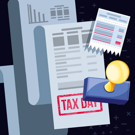 tax day with voucher and set icons vector illustration design