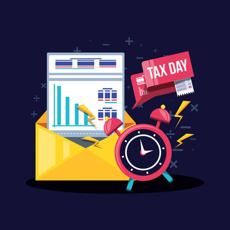 tax day with envelope mail and set icons vector illustration design