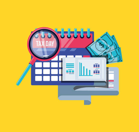 tax day with calendar and set icons vector illustration design