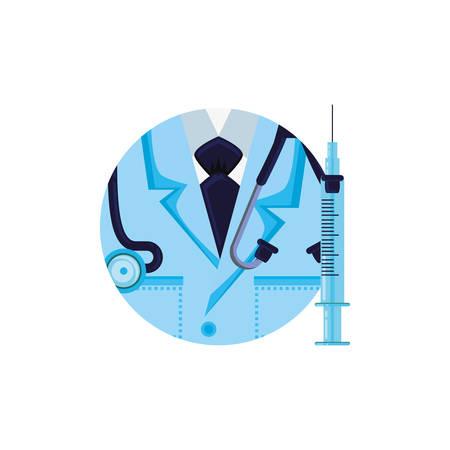 shirt doctor in frame circular vector illustration design