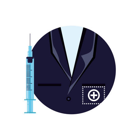 shirt doctor in frame circular vector illustration design