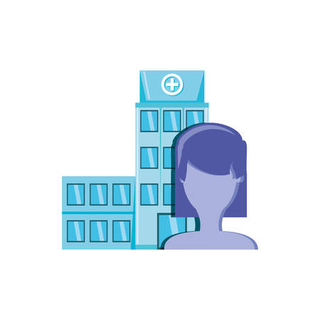 hospital structure with silhouette female vector illustration design
