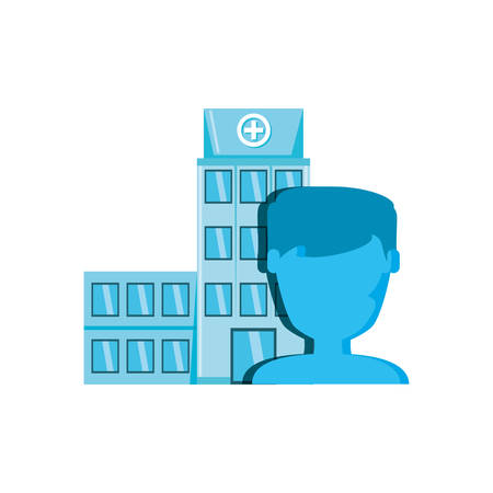 hospital structure with silhouette male vector illustration design