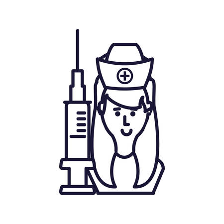 medical nurse with injection avatar character vector illustration design