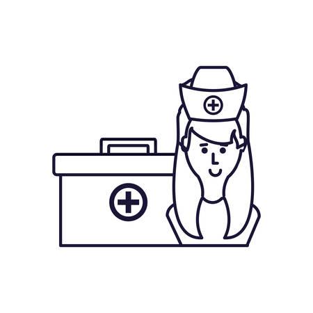 medical nurse with first aid kit vector illustration design