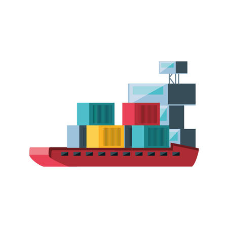 delivery service with ship cargo vector illustration design