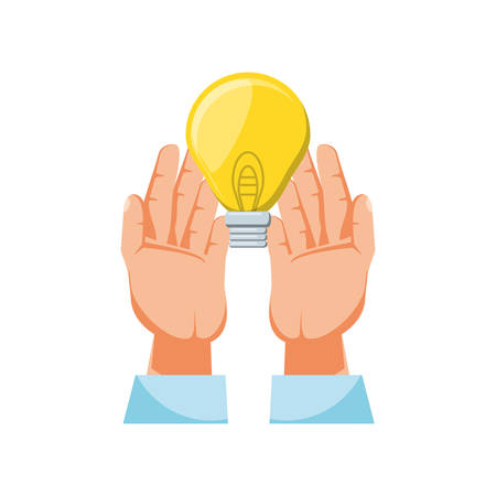 hands with light bulb isolated icon vector illustration design