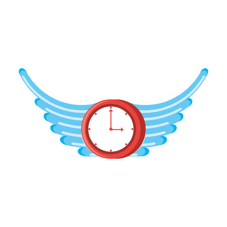 clock time with wings isolated icon vector illustration design Illustration