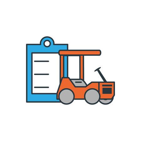 delivery service forklift with clipboard vector illustration design
