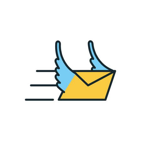envelope mail with wings icon vector illustration design
