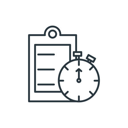 clipboard document with chronometer timer vector illustration design
