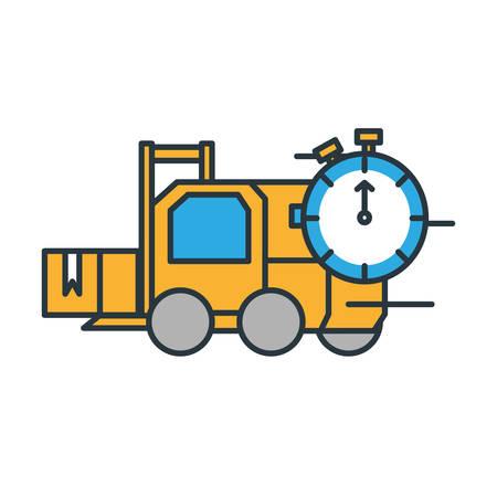 delivery service forklift with chronometer vector illustration design Illustration
